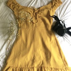 UO mustard yellow off the shoulder dress
